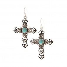Cross Earrings with Turquoise Stone - Silver