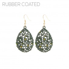 Acute Triangle Filigree Dangle Earrings - Green