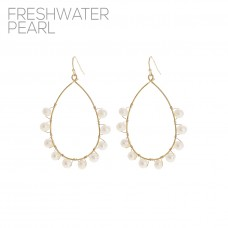 Pearl Teardrop Open Hoop Dangle Earrings - Gold