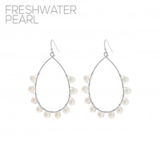 Pearl Teardrop Open Hoop Dangle Earrings - Silver
