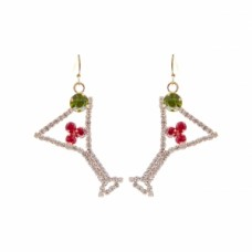 Martini Cocktail Dangle Wire Earring - Silver
