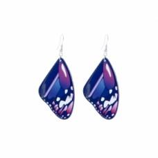 Butterfly Wing Inspired Wire Dangle Earrings - Purple