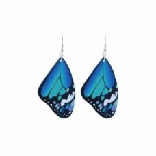 Butterfly Wing Inspired Wire Dangle Earrings - Blue