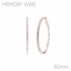 60mm Memory Wire CZ Hoop Earrings - Gold