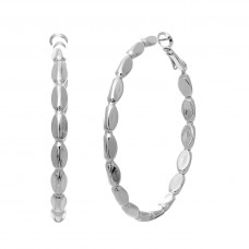 50mm Triangular Hoop Earrings - Silver