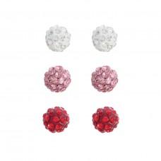 3 Pair Clay Ball Earrings in Silver