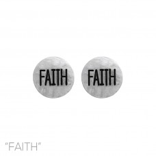 """Faith"" Stud Earring in Brushed Silver"
