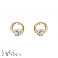 CZ Post With Silver Twist Earring