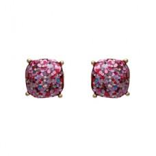 Cushion Glitter Post Earrings - Pink