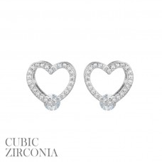 CZ Open Heart Post Earring with CZ Stone Accent - Silver