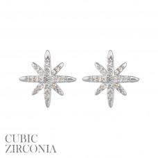 CZ Starburst Post Earring - Silver
