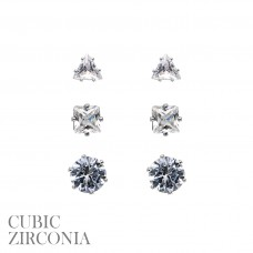 3 Pair Earring Set - Silver CZ Post Earrings