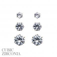 3 Pair Earring Set - Gold CZ Round Post Earrings