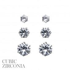 3 Pair Earring Set - Silver CZ Round Post Earrings