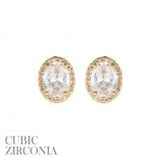 CZ Oval Stud Earrings - Gold