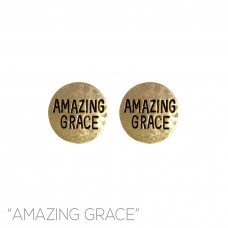 Amazing Grace Stamped Post Earrings - Gold