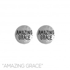 Amazing Grace Stamped Post Earrings - Silver