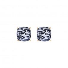 Zebra Print Post Earrings - Gold