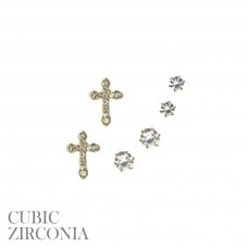 3 Pair Set - Gold Plated Cross And Graduated Round Cut Clear CZ Crystals
