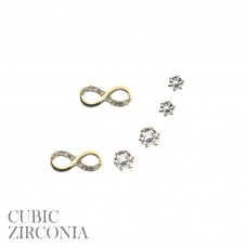 3 Pair Earring Set - Gold CZ