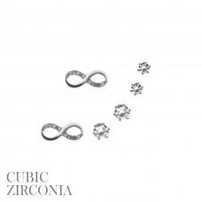 3 Pair Earring Set - Silver CZ