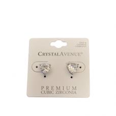 8mm Heart CZ Post Earring - Silver
