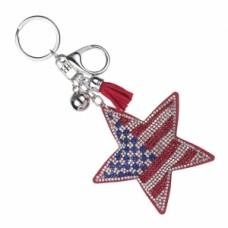 Flag Star Stone Keychain