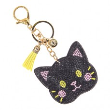 Black Cat Stone Keychain