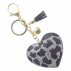 Leopard Heart Stone Keychain - Black