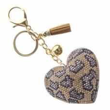 Leopard Heart Stone Keychain - Brown