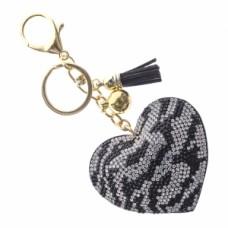 Zebra Heart Stone Keychain