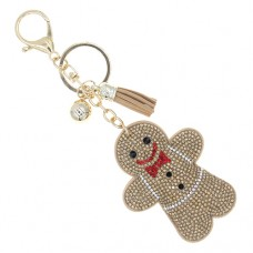 Gingerbread Man Stone Keychain