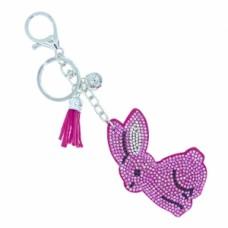 Pink Bunny Stone Keychain