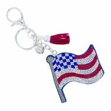 USA Flag Stone Keychain