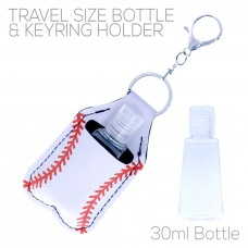 Sanitizer Holder with Keyring - Baseball
