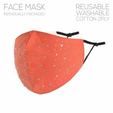 Adult Cloth Reusable Mask - Coral w/Stone Accent