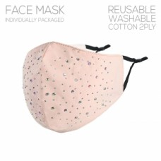 Adult Cloth Reusable Mask - Pink w/Stone Accent