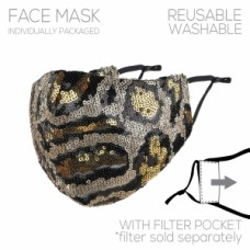 Adult Cloth Reusable Mask - Leopard Sequin