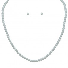 16 Inch 4mm White Pearl Necklace Set