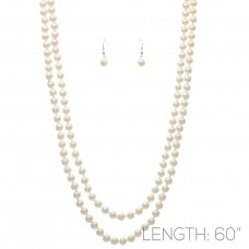 8mm Knotted Pearl Necklace Set - 60in Long