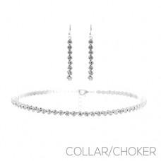 4mm Semi Bezel Choker Set with Earrings - Silver
