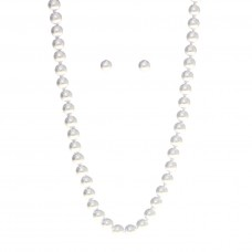 8mm Knotted Pearl Necklace Set - 18 inches Long