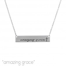 """""""Amazing Grace"""" Bar Necklace in Matte Silver"""