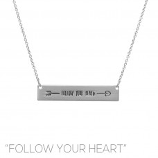 """""""Follow Your Heart"""" Bar Necklace in Silver"""