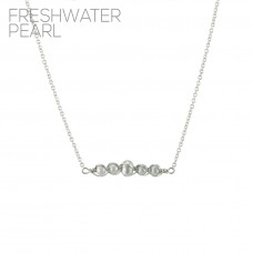 Freshwater Pearl Bar Pendant Necklace - Silver