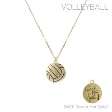 """""""Love at first Spike!"""" Volleyball Pendant Necklace - Gold"""