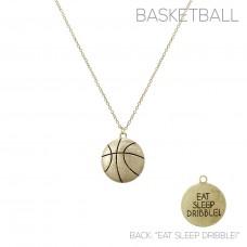 """Eat Sleep Dribble!"" Basketball Pendant Necklace - Gold"