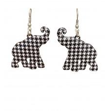 Elephant Houndstooth Print Earrings - Large