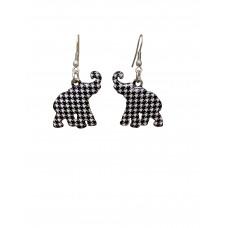 Elephant Houndstooth Print Earrings - Small