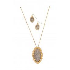 Oval Semi-Precious Necklace Set - Black